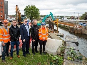 Work begins on new town centre flood defence in Rotherham: Works begin on town centre flood defence