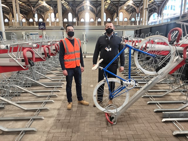New cycle racks installed at Liverpool Street station to help passengers back into the saddle: Jon Imeson from Cyclepods with Jon Mills from Network Rail