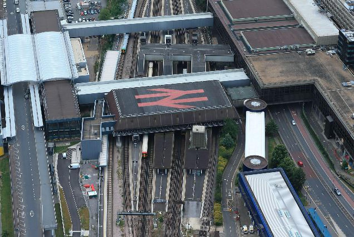 REMINDER: Upgrade works continue this Easter weekend in Sussex as Gatwick Airport station is transformed: Gatwick Airport station - aerial view