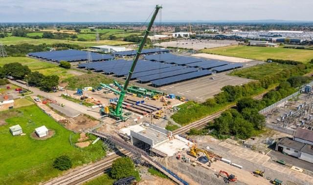 Aerial view of the new bridge deck in place in Crewe - Boulderstones