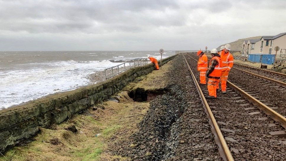 Passengers warned of work to repair Cumbrian Coast line left damaged by stormy seas: Parton - inspection (1)