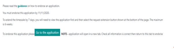 Endorse application (image): Screenshot of how to endorse an application