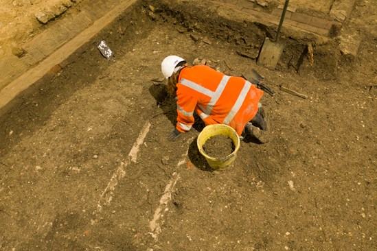 Archaeologist working at St Mary's Church, Stoke Mandeville: The remains of a medieval church in Stoke Mandeville are being excavated by archaeologists working on the HS2 project.  Tags: Archaeology, St Mary's, Stoke Mandeville