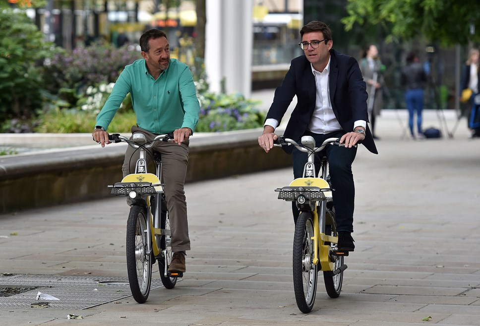 Chris Boardman, Transport Commissioner, and Mayor of Greater Manchester, Andy Burnham