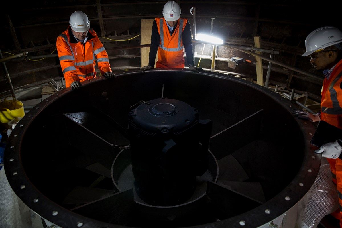 Bunhill 2 Energy Centre Construction - Vent Shaft Fan (Copyright TfL): The vent shaft fan being installed. (Copyright TfL)