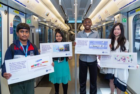 TfL Press Release - Talented young Londoners' artwork showcased in new TfL Rail trains from Paddington: TfL Rail Heathrow to Paddington Student Poster Designs – Elizabeth line