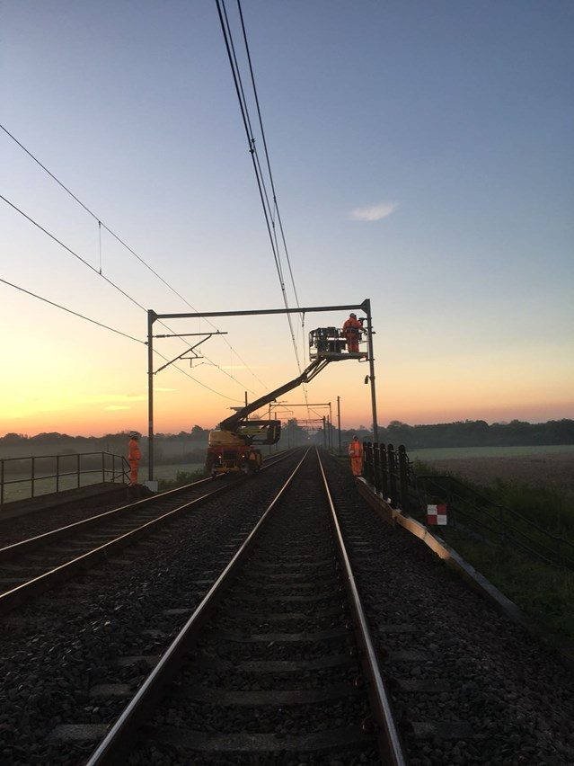 Completion of major Southend Victoria branch line improvements brought forward in response to passenger feedback: Southend Victoria overhead wire installation early morning