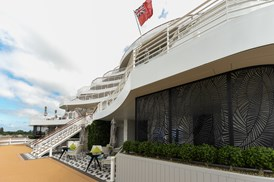 Saga Cruises' Spirit of Adventure - stern staircase with Ensign