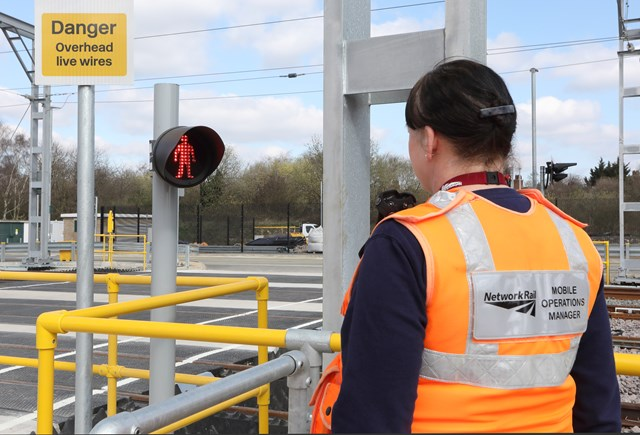 Network Rail carrying out bank holiday preparation work for new Brent Cross West station: Copyright: Brent Cross Cricklewood regeneration programme. Brent Cross West March 2021 lxxxi New level crossing Network Rail Mobile operations manager Michelle Gull