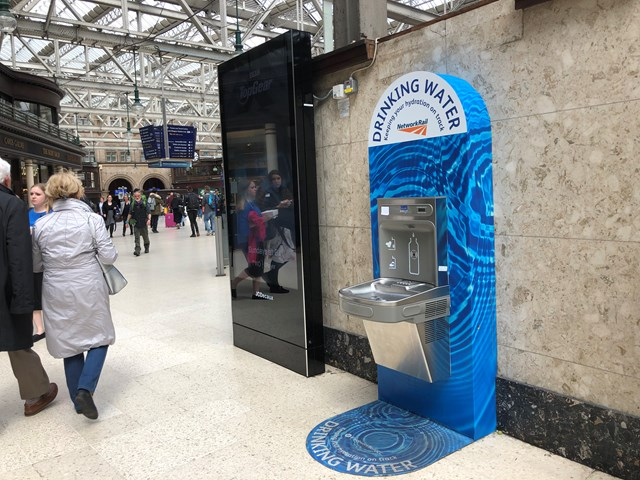 Scotland's rail passengers take on plastic with refill revolution: Glasgow Central water