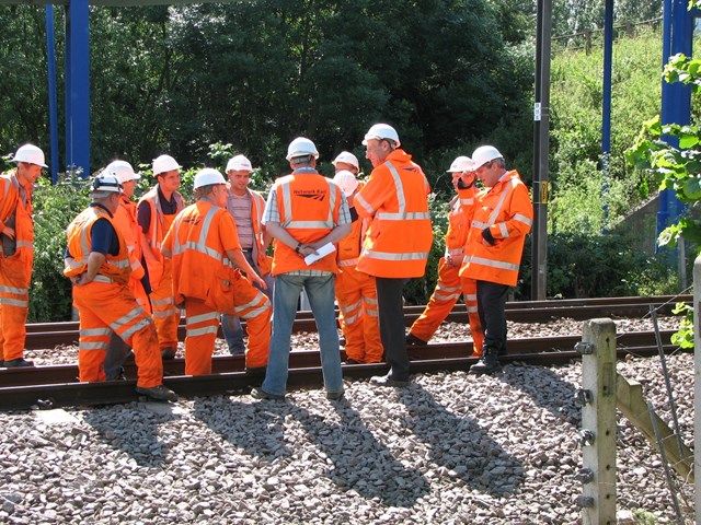 John Armitt at Adwick: Netwrk Rail Chief Executive, John Armitt, visits staff working to restore rail services at Adwick on 2 July 2007