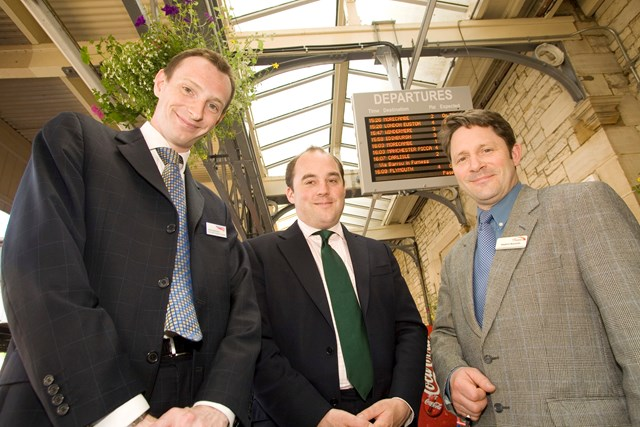 Ben Wallace MP unveils the new customer information screens at Lancaster station: Ben Wallace MP for Lancaster and Wyre officially unveils the new CIS equipment at Lancaster station. Also pictured are Simon Brooks, Network Rail's Public Affairs Manager (North West) and Lancaster station manager, Stephen Reynolds.