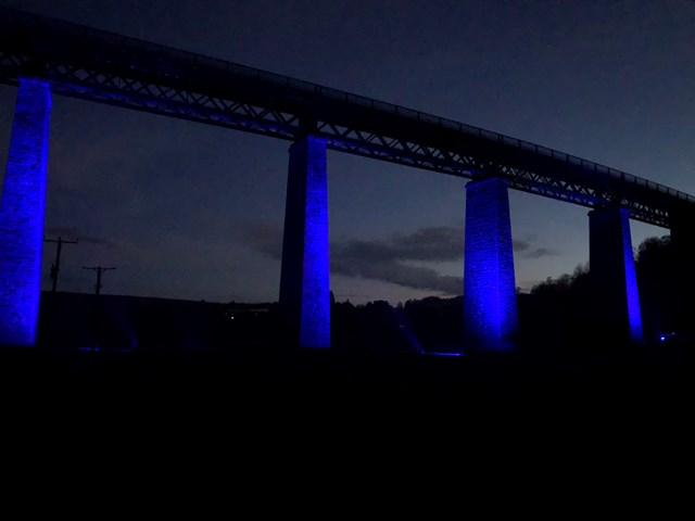 Findhorn Viaduct Lit up Blue in support of NHS: 20200430 211751478 iOS