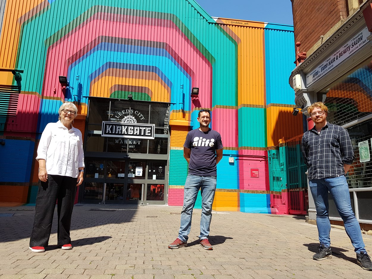 New York Street Artwork: L-R - Councillor Al Garthwaite, Rob Lee and Councillor Jonathan Pryor