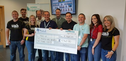 Siemens employees raise £5,940 for the mental health charity Mind: MIND UK Cheque Presentation-2