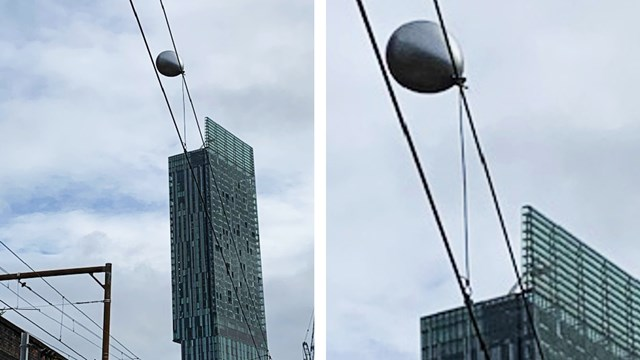 Float-away helium balloon delays trains in Manchester: Helium balloon caught on overhead power lines on the Castlefield corridor in Manchester