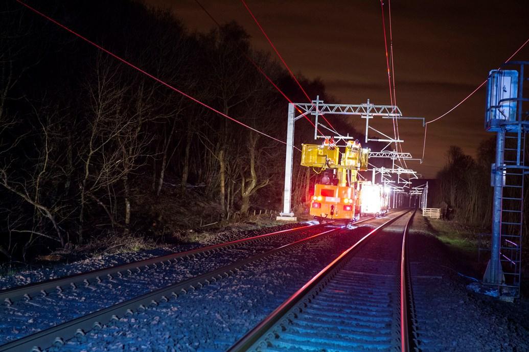 Edinburgh-Glasgow electrification goes live for testing: 11805629 Wiring Run