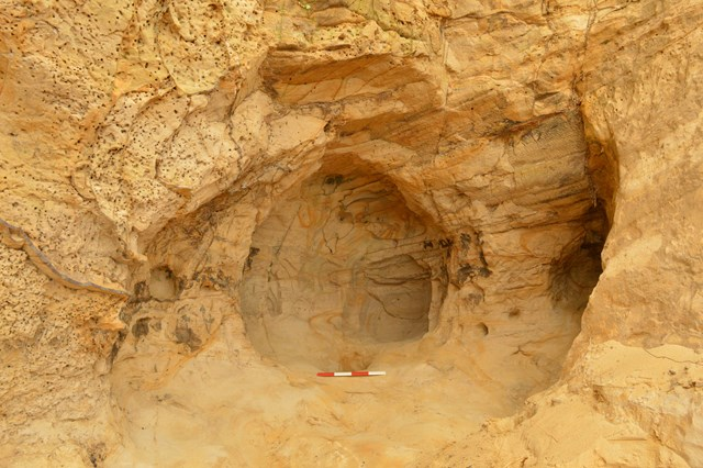 14th century cave and drawings discovered during landslip repair works near Guildford: St Catherine Cave 2