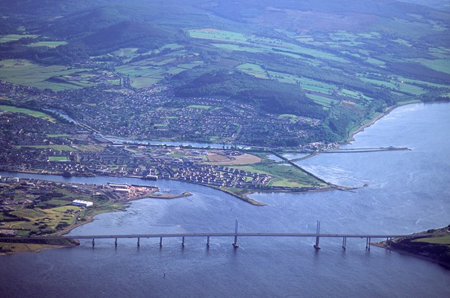 Celebrating the place-name heritage of Inverness: Aerial view over the Kessock bridge towards Inverness.  ©Patricia and Angus Macdonald/NatureScot