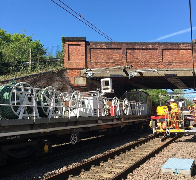 Passengers urged to check before they travel as work to transform the Southend Victoria branch line continues: Overhead wire installation on Southend Victoria line