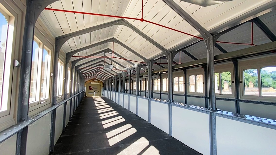 Grade II listed Lancaster station footbridge restored for passengers: Interior of Lancaster station footbridge after refurbishment