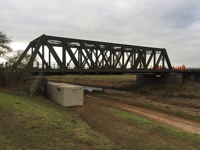 Rail engineers working to repair a rail bridge in the Manea area to restore weekend services: Manea Bridge-5