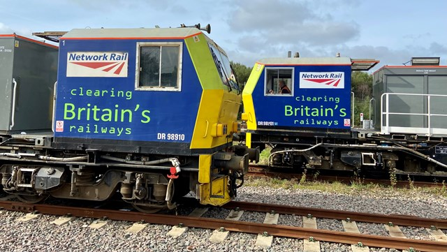 Two autumn treatment trains or MPVs facing each other
