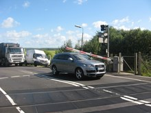 Motorist gets trapped under barrier at Yapton level crossing, West Sussex: Yapton level crossing located between Barnham and Ford, West Sussex