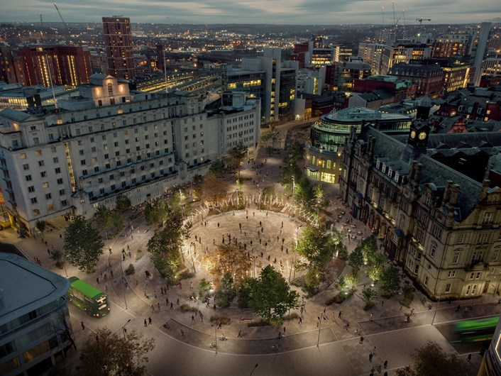 City Square, evening concept image: Image produced as part of initial concept work on plans for transformation of City Square in Leeds.