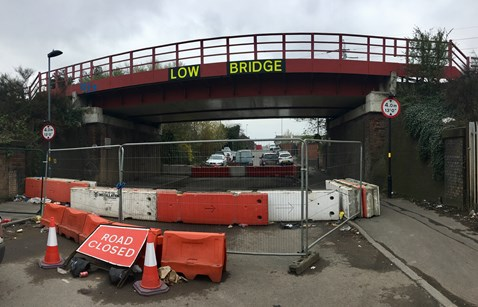 Lorry drivers warned after repeated bridge strikes close road for five months: The road closure at Landor Street