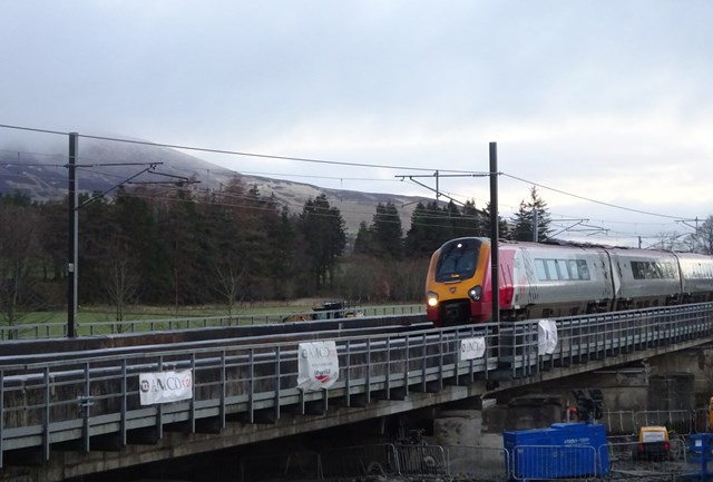 Lamington Feb22: Trains have resumed running over Lamington Viaduct following seven-week closure due to flood damage.
