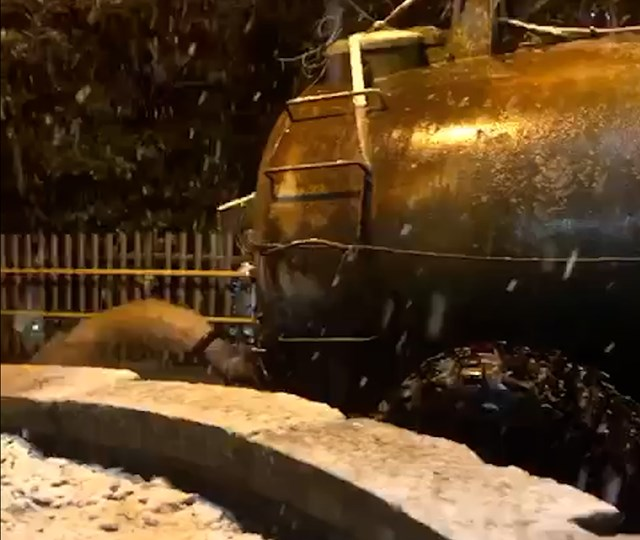 Close up of slurry trailer dumping foul water at Hartford station
