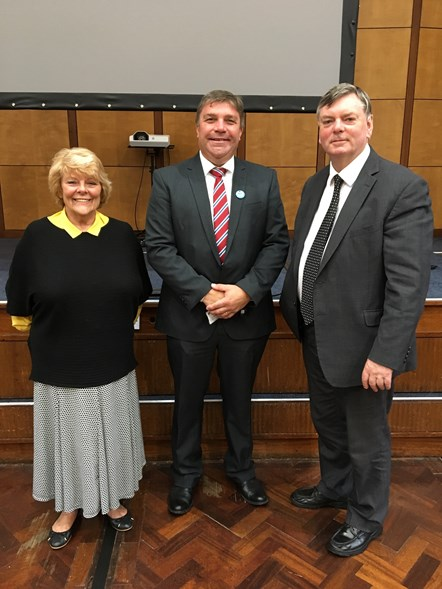A photograph of Transport for Greater Manchester Vice Chair Doreen Dickinson; Chair Mike Aldred and Vice Chair Roger Jones: A photograph of Transport for Greater Manchester Vice Chair Doreen Dickinson; Chair Mike Aldred and Vice Chair Roger Jones