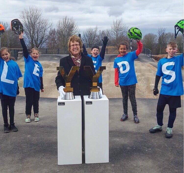 The Tour de Yorkshire trophies have come to town! : tdytrophytour-cllrblake-leedsurbanbikepark.jpg