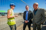 Derek Mackay launches Town Centre First Principle: Local Government Minister with Phil Prentice from East Renfrewshire Council and Andy McGuinn at the site of the new Asda.