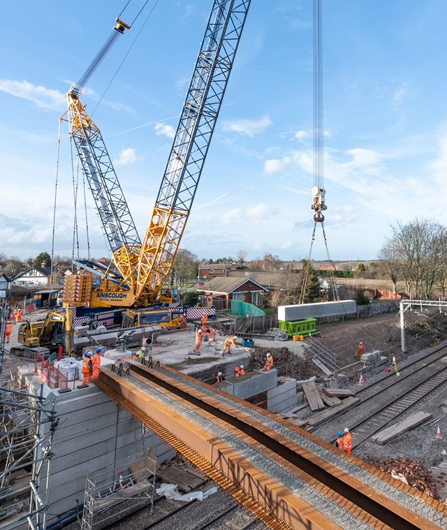 The 1,000-tonne crane used to lift steel work into place at Sydney Road bridge in Crewe