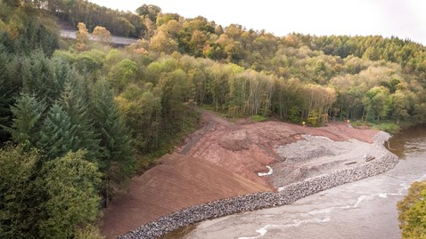 Aerial view of Eden Brows. settle line running above the River Eden....-3