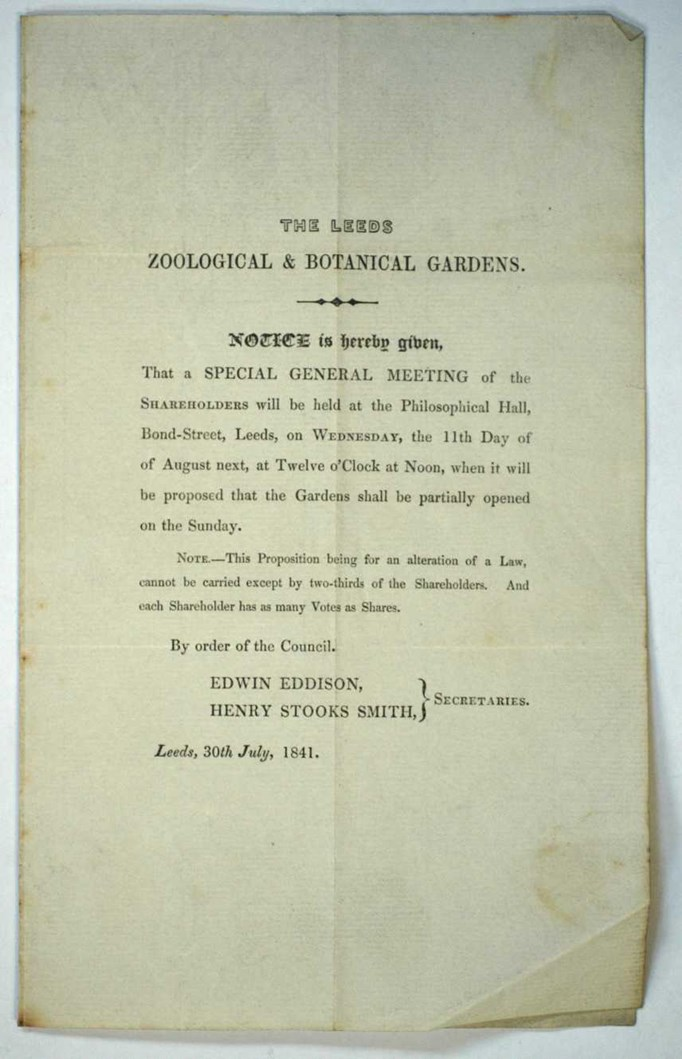 A Garden Through Time: A copy of the agenda for a special general meeting of the shareholders of the Leeds Zoological and Botanical Gardens from 1841. Part of the Leeds Museums and Galleries collection.