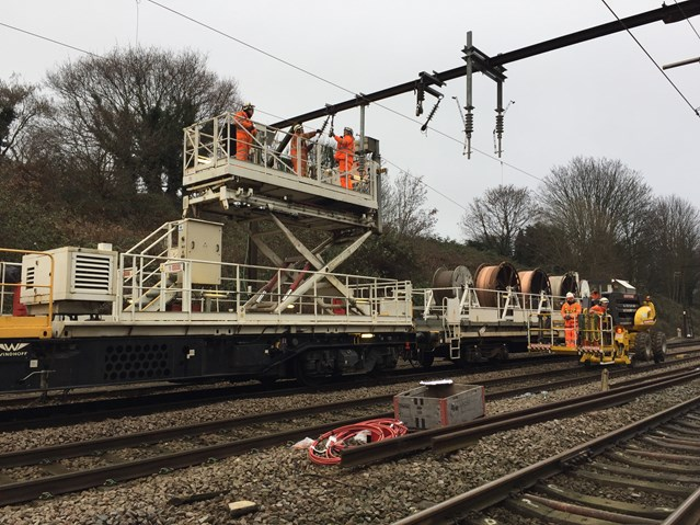 Weekend railway improvement works to bring benefits for people travelling between Norwich and London: Gidea Park wiring train