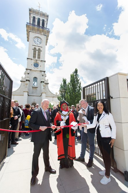 The grand opening of the Caledonian Clock Tower on June 8, 2019, with (L-R) Cllr Paul Smith; The Mayor of Islington, Cllr Rakhia Ismail; Cllr Diarmaid Ward and Cllr Claudia Webbe, executive member for environment and transport