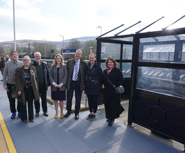 Key project to improve accessibility at Marsden station successfully completed: From left to right: Cllr Nell Griffiths, Cllr Donna Bellamy, Cllr Rob Walker (Kirklees Council, Colne Valley Ward), Anna-Jane Hunter (Network Rail), Pete Myers (Northern), Fran Taylor (TransPennine Express) and Thelma Walker MP for Colne Valley