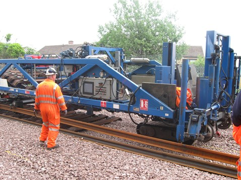 Track laying machine working on Airdrie-Bathgate line_1