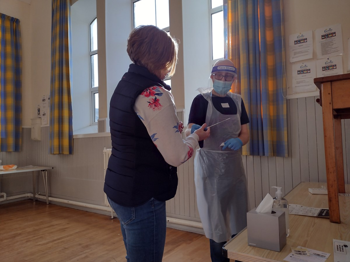 covid-19 community testing - self-administering a swab