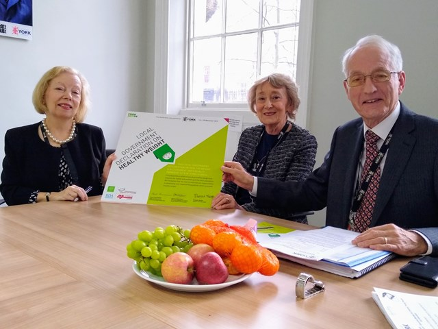 Healthy weight signing 2: Sharon Stoltz, Director for Public Health with Cllr Carol Runciman, Executive Member for Health and Adult Social Care and Cllr Ian Cuthbertson, Executive Member for Children and Young People after signing the Healthy Weight Declaration.