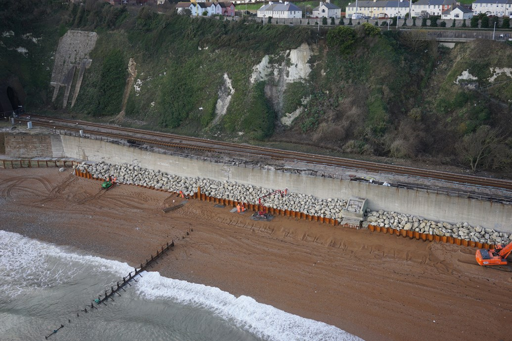 Task force formed to speed Dover sea wall railway rebuilding as beach protection work continues: Dover drone cam shot
