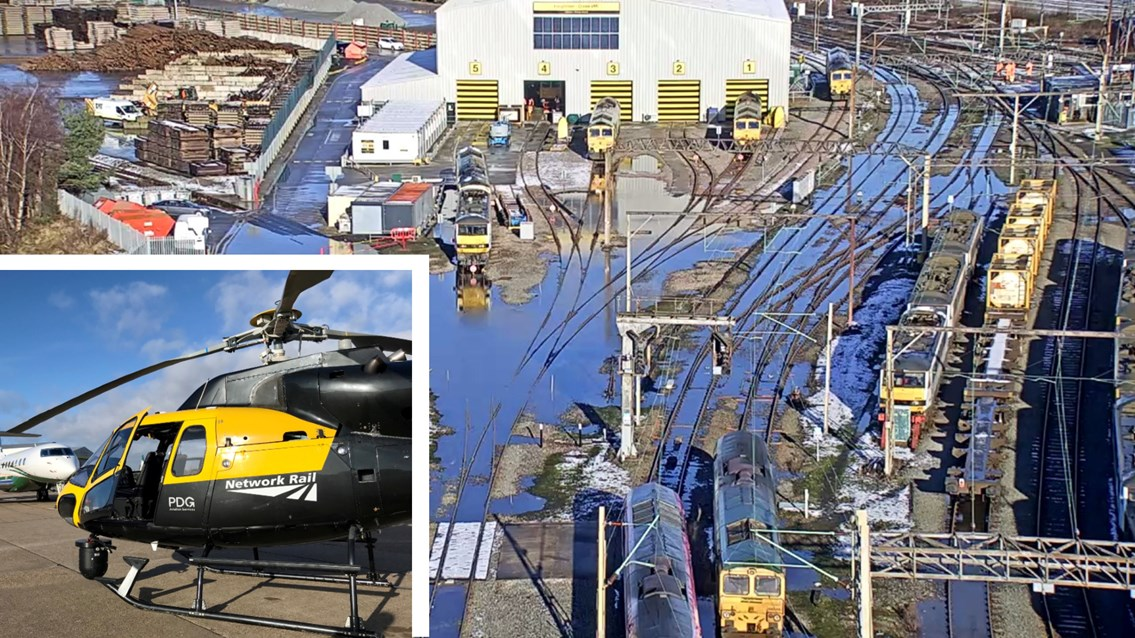 Network Rail helicopter reveals Storm Christoph's impact on railway: Network Rail helicopter Crewe survey composite Storm Christoph