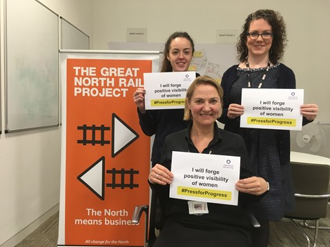 from left to right, Louise O'Brien, Debbie Hargreaves and Jennifer Gilleece Jones, all working for Network Rail on the Great North Rail Project