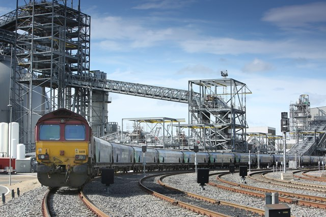 Freight train leaving Drax Power Station