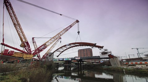 The Ordsall Chord arch about to be lifted into place 21 February 2017