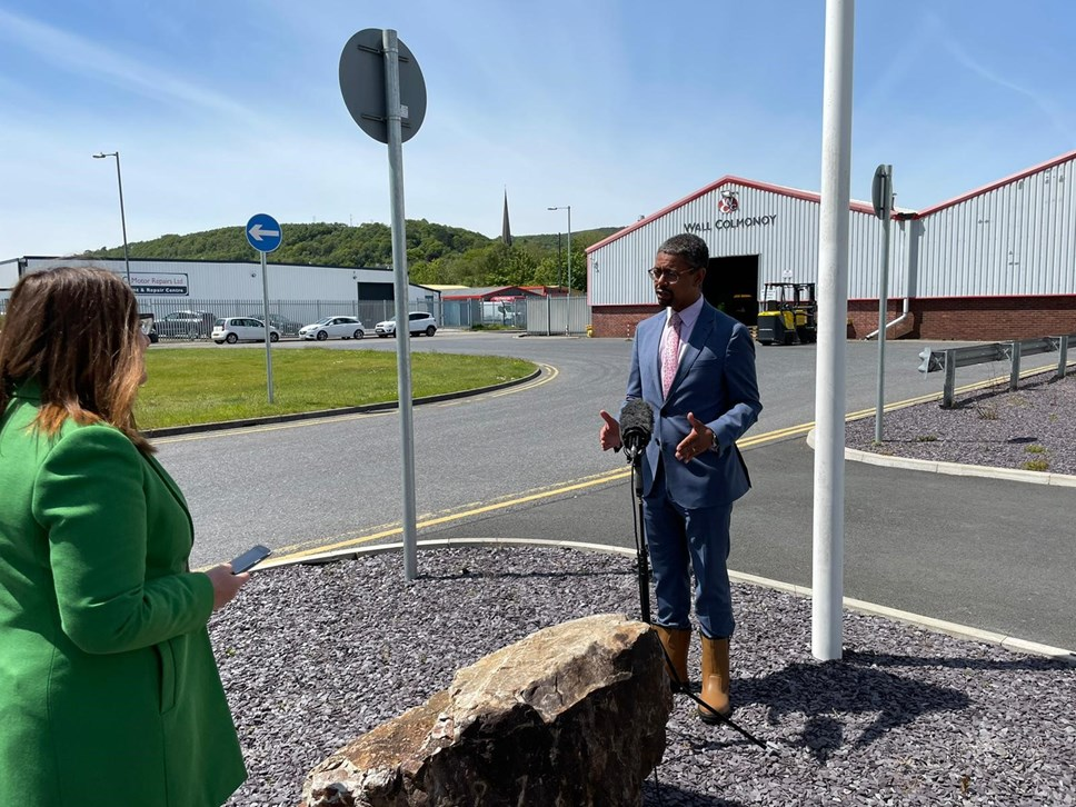 Economy Minister Vaughan Gething at Wall Colmonoy
